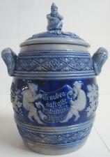 Steingut Westerwälder Keramik blau Bowle Rum Topf Gefäß Motiv Zwerg Wein Zwerge
