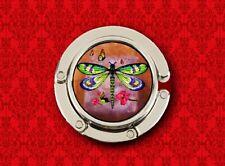 DRAGONFLY BUTTERFLY INSECT FLOWERS ART HANDBAG POCKETBOOK HANGER PURSE HOOK