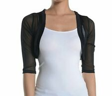 Fashion Secrets Women`s Sheer Bolero Mesh Chiffon Shrug Jacket Cardigan 3/4 slv