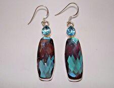 """AB Artist Rainbow Mystic Topaz Blue-Multi .925 Silver Hook Dangle Earrings 2+"""""""