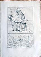 ✅Stampa incisione 1850s Madonna con Gesù,Chiesa di Santo Stefano Bologna Tav.XIC
