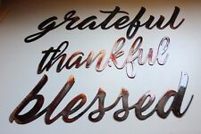 grateful thankful blessed Metal Wall Art Words Copper/Bronze Plated
