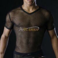 Sexy Mens Mesh Sheer See through Clubwear T-Shirt Undershirt Vest Shirt Clubwear