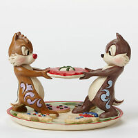 Jim Shore Disney Christmas Chip & Dale on Plate of Cookies Figurine ~ 4046023