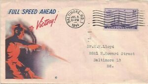 1944 Baltimore, Maryland Cancel on Cover w Classic WWII Patriotic Victory Cachet