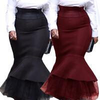 Women Bodycon Mermaid Skirt High Waist Slim Mesh Ruffles Bodycon Long Maxi Dress
