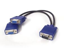 1 PC TO 2 VGA SVGA MONITOR Male to 2 Dual Female Y Adapter Splitter Cable 15 PIN