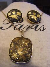 2 LOT Gold tn Black DAMASCENE Link EARRINGS & Pendant NECKLACE Bird Flower SPAIN