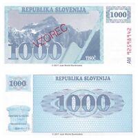Slovenia 1000 Tolarjev 1990 Specimen P-9s1 Banknotes UNC