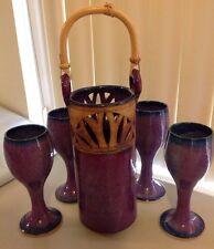 NEW ~ CHOHLIDAKIS HANDMADE POTTERY SET WINE HOLDER & 4 HANDMADE WINE GLASSES