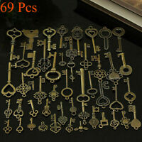 69 Pcs Set Antique Vintage Old Look Ornate Skeleton Keys Necklace Pendant Decors