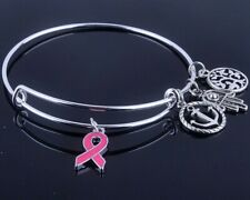 Care For Breast Cancer pink ribbon Hope Love Faith charms bracelet adjustable