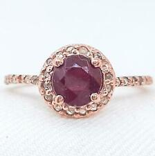 Genuine .90ctw Ruby & H-SI Diamond 14K Rose Gold 925 Sterling Silver Ring Sz6.75
