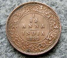 INDIA BRITISH QUEEN VICTORIA 1889 1/12 ANNA COPPER