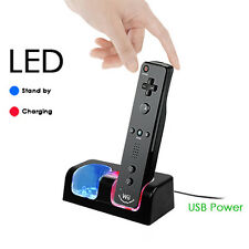 Dual Remote Charging Dock Station and 2 Rechargeable Batteries For Wii Black