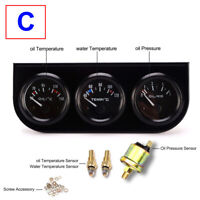 2″ Car Auto Black Face Triple Gauge Set Oil Pressure Oil Temperature Water Temp