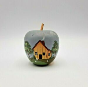 Vintage 1991 Hand Painted Wooden Apple Amish Farm Countryside