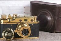 Leica Film camera, rangefinder Lens Elmar f3.5/50mm GOLD Vintage (Fed Copy)