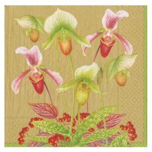 Caspari Paper Luncheon Napkins, Slipper Orchid Gold, 2 Packs (16590L)