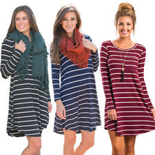 AU Women's Loose Long Sleeve Tops Blouse T-shirt Tunic Short Mini Dress Pullover