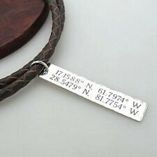 Personalized leather cord Coordinates ID Tag necklace, Mens Gifts for boyfriends