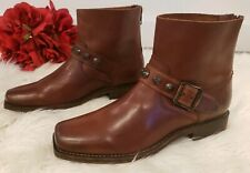 FRYE Studded Ankle w Zipper & Buckle Boots  Cognac Brown Leather Women's Size 6