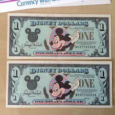 2 Rare Consecutive Disney Dollars. 1990 Series. Uncirculated. 2 Orig Envelopes.