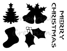 """TREE BELLS STOCKING HOLLY"" Christmas 8.5"" x 11"" Stencil Plastic Sheet NEW S47"