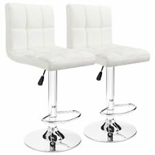 Set of 2 White Leather Swivel Hydraulic Bar Stools Tufted Modern Home Furniture