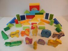 Colorful Wooden Building Blocks With Jungle Animals