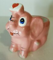 Vintage Small Pink Elephant Planter Handpainted Ceramic Adorable