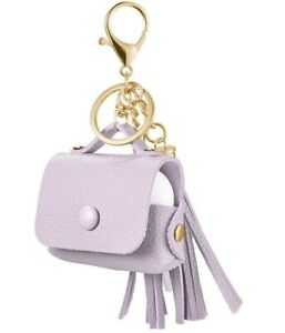 Apple AirPods Pro -Soft Leather Lavender Purple PURSE Keychain Tassle Case Cover