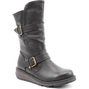 Heavenly Feet Hannah 2 Womens Ladies Black Wedge Zip Up Boots Size 4-8