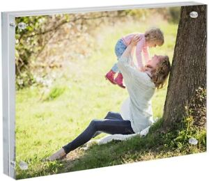 """Acrylic Picture Photo Frame Magnetic Lock Closure Premium Ultra Thick 24mm 8x10"""""""