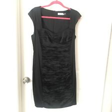 Calvin Klein Black Fitted Ruched Dress 14