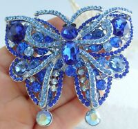 """3.74"""" Gorgeous Butterfly Brooch Pin Pendant Blue Austrian Crystal 04921C8"""