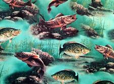 Awesome Fish Fishing Allover Green Novelty Quilt Fabric FQ FQs