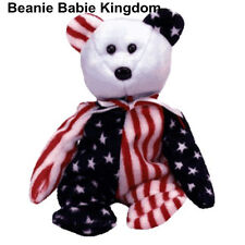 TY BEANIE BABY BABIE SPANGLE (BLUE HEAD) AMERICAN STARS AND STRIPES TEDDY BEAR
