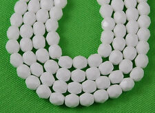50 Fire Polished Czech Faceted Opaque White Round Craft Loose Glass Beads 6mm
