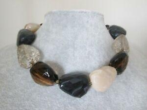 NEXT Collar Necklace Chunky Natural  Earthy Tone Crackled Acrylic Bead Beaded