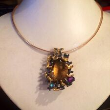 62.34CT  NATURAL CITRINE, TOPAZ 14k YELLOW GOLD Over SILVER NECKLACE  17""