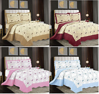 3 Piece Bedspread Quilted Bed Throw Embroidered Bedding Set Single Double King