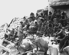 Chaplain holding service close to Japanese Positions Peleliu 8x10 WW2 Photo 546