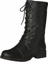 Women Military Combat Boots Mid Calf Lace up Side Zipper Faux Leather Black Tan