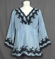 plus size ROAMAN's denim 24/7 embroidered peasant boho TUNIC sizes 12w-32w blue