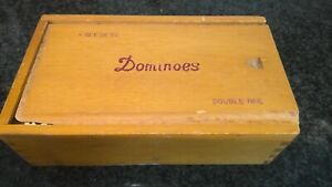 VTG Set of Double Nine Bone & Ebony Pinned 51 Dominoes in Original Wood Box