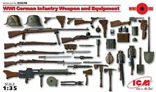 WW I GERMAN INFANTRY WEAPON & EQUIPMENT (MAXIM, MAUSER, LUGER, ETC) 1/35 ICM