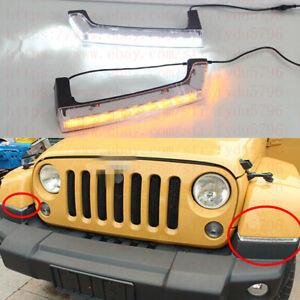 DRL FOR Jeep Wrangler Jk 08-16 LED DAYTIME RUNNING LIGHT FOG LAMP W/TURN SIGNALS