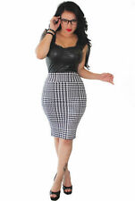 Regular Size Plaid & Checked Knee-Length Straight, Pencil Skirts for Women