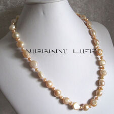 """20"""" 4-11mm Peach Pink Baroque Mother of Freshwater Pearl Necklace UE"""